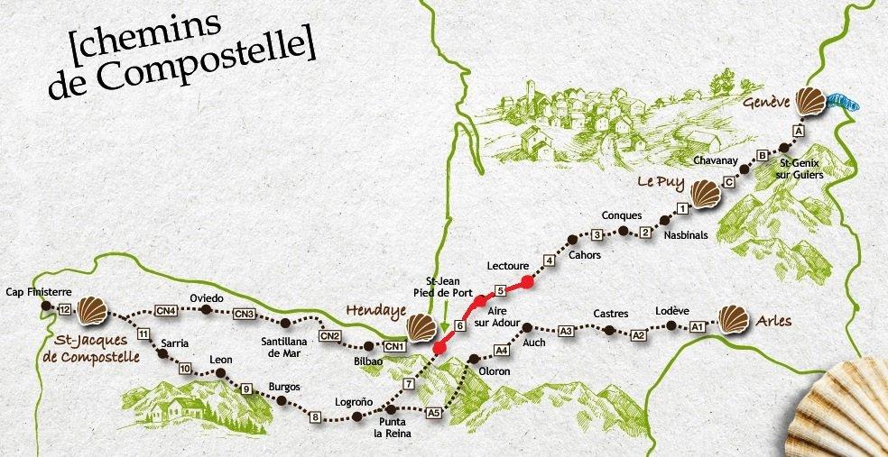 Nos plus beaux voyages en europe 2 gr65 chemin de - Saint jean pied de port saint jacques de compostelle ...